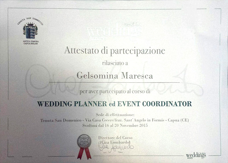 Wedding Planner and Event Coordinator Certificate